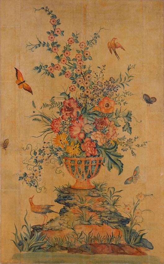 Très rare et exceptionnel panneau en papier peint polychrome d'inspiration chinoise. Travail français du XVIIIème siècle