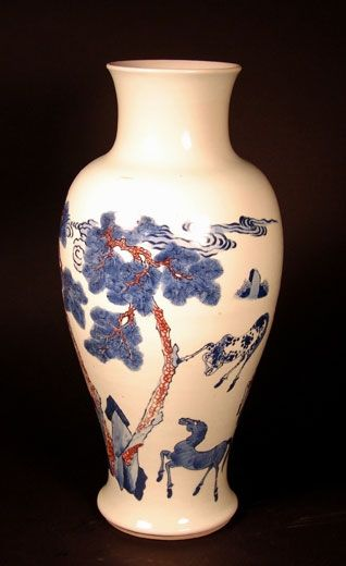 Underglaze red and blue baluster vase, decorated with the Eight Horses of Mu Wang. China, early Kangxi period, circa late 17th century