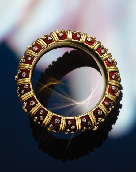 c1350b582 Tiffany & Co. Schlumberger red enamel and diamond bracelet in 18-karat gold.