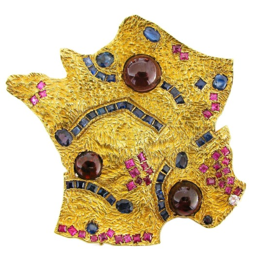 Cannes-Map-of-France-Gemstone-Gold-Pendant-Brooch-Kimberly-Klosterman