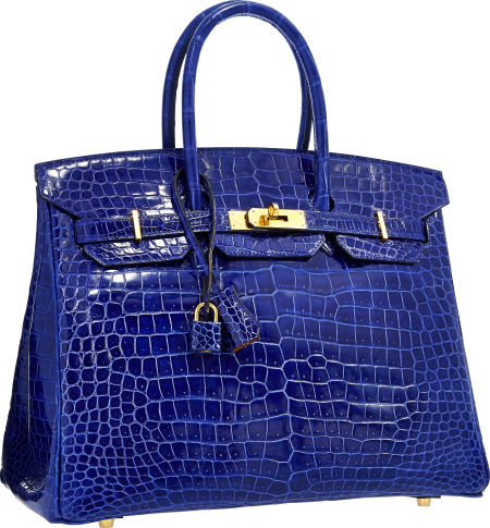 c25a9f68d748 Hermes Special Order Horseshoe 35cm Shiny Blue Electric   Alezan Porosus  Crocodile Birkin Bag with Gold Hardware. Estimate   75