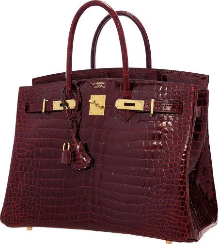 7cadd93d40 Hermes Special Order Horseshoe 35cm Shiny Bordeaux   Rouge Moyen Porosus Crocodile  Birkin Bag with Gold Hardware. Estimate   75