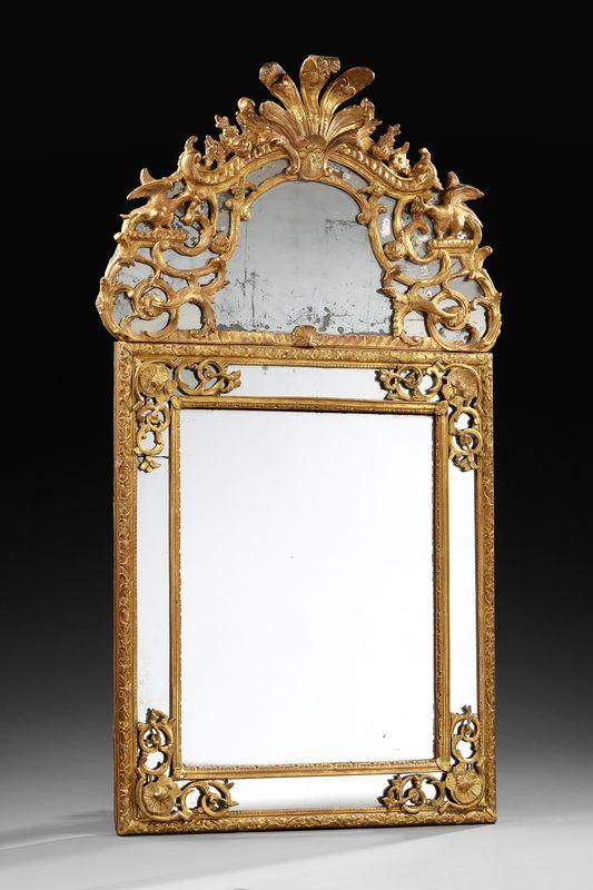 Miroir au mercure fronton epoque r gence alain r truong for Miroir au mercure