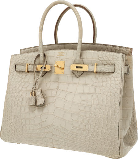 Hermes 35cm Matte Beton Alligator Birkin Bag with Gold Hardware. Estimate    60 e3c49d0aeb420