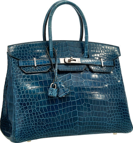 86d8150e47cc Hermes 35cm Shiny Blue Roi Porosus Crocodile Birkin Bag with Palladium  Hardware. Estimate   55