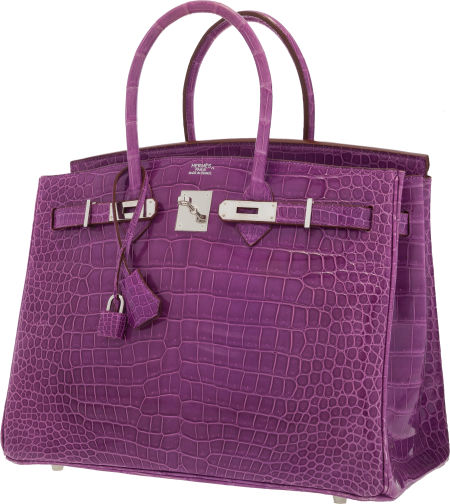 eb6b54a9ea Hermes 35cm Shiny Violet Porosus Crocodile Birkin Bag with Palladium  Hardware. Estimate   40
