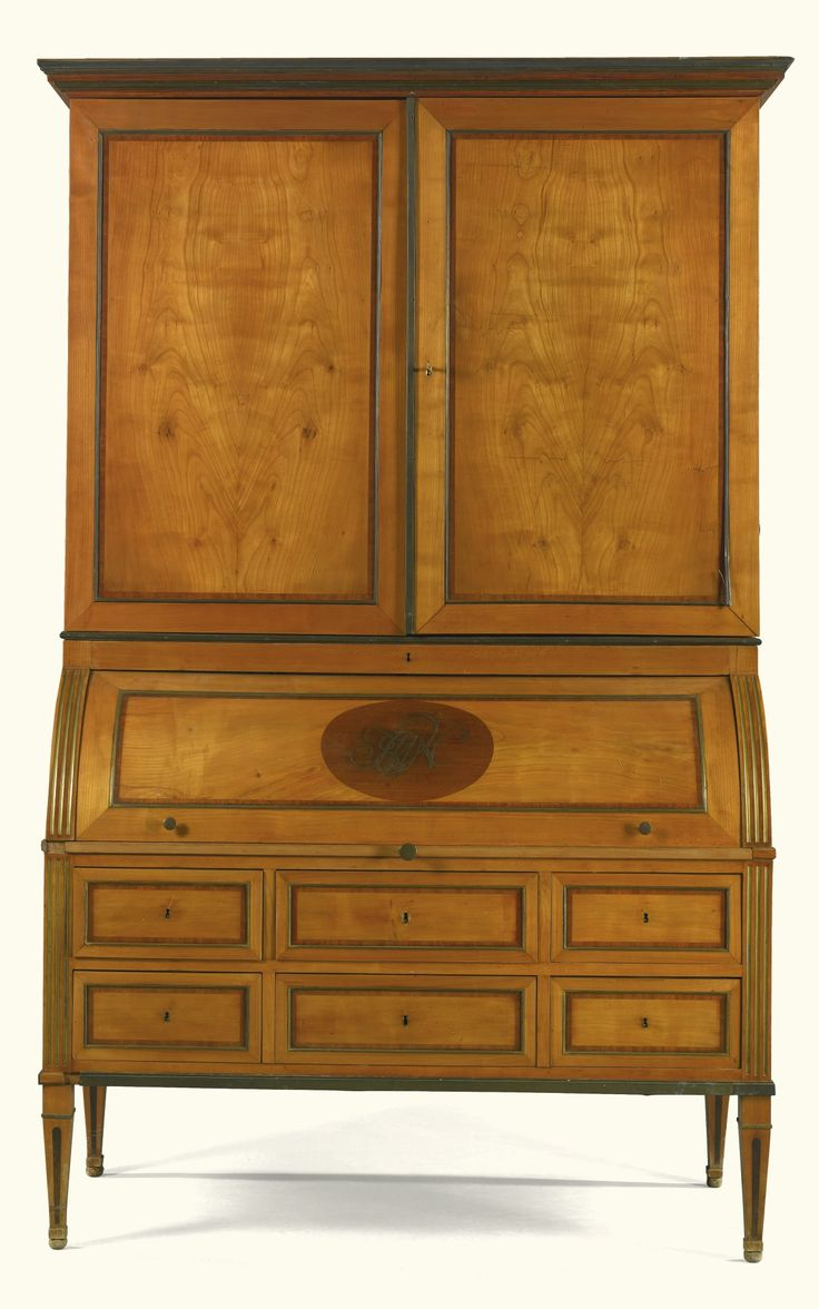 a german neoclassical brass mounted cherrywood bureau cabinet figuri schrank late 18th century. Black Bedroom Furniture Sets. Home Design Ideas