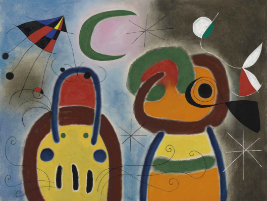 Joan-Miró-LOiseau-au-plumage-déployé-vole-vers-larbre-argenté-1953-via-Christies