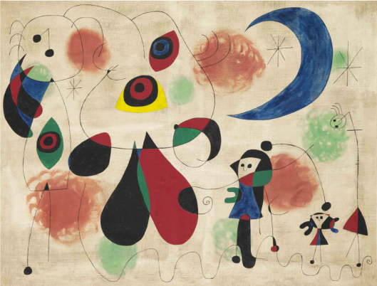 Joan-Miró-Painting-Women-Moon-Birds-1950-via-Christies